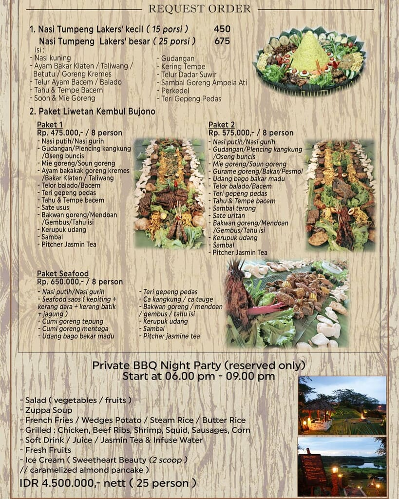 Harga dan menu cafe lakers bsb village